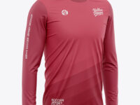 Men's Crew Neck Long Sleeve Soccer Jersey Mockup - Half Side View