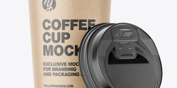 Big Kraft Paper Coffee Cup With Plastic Cap Mockup - Front View