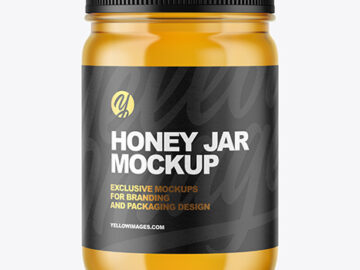 Clear Glass Jar with Honey Mockup