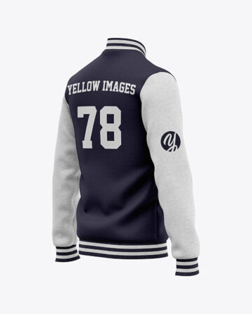 Men's Heather Varsity Jacket Mockup - Back Half Side View