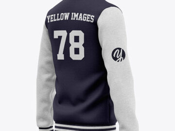 Men's Heather Varsity Jacket Mockup - Half Back View