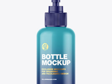 Glossy Sanitizer Bottle w/ Open Pump Mockup