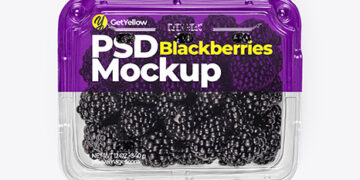 Clear Plastic Tray with Blackberries Mockup