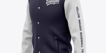 Men's Heather Varsity Jacket Mockup - Front Half Side View