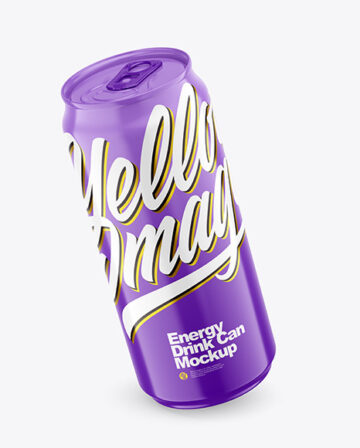 440ml Glossy Drink Can Mockup