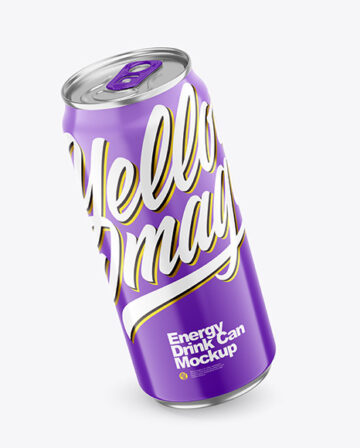 440ml Metallic Drink Can With Glossy Finish Mockup