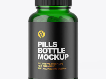 Green Pill Bottle Mockup