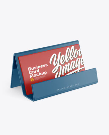 Business Cards with Glossy Holder Mockup