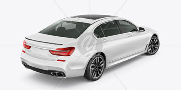 Luxury Car Mockup - Back Half Side View (High-Angle Shot)