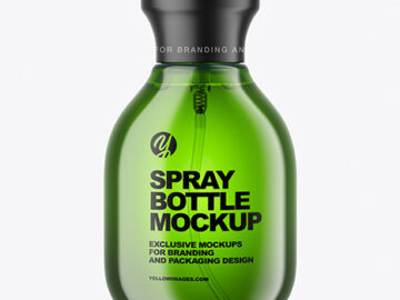 Green Spray Bottle Mockup