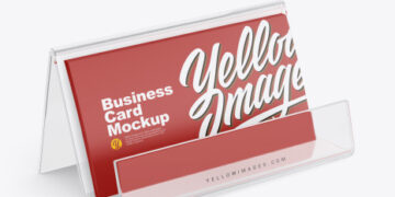 Business Cards with Transparent Holder Mockup