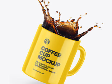 Glossy Coffee Cup w/ Splash Mockup