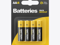 4 Pack Battery AA Mockup - Front View