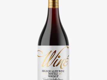 Amber Glass Red Wine Bottle Mockup