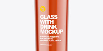 Glass with Red Drink Mockup