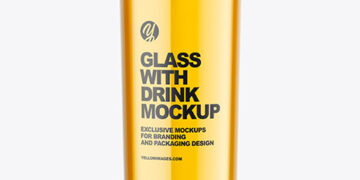 Glass with Apple Juice Mockup
