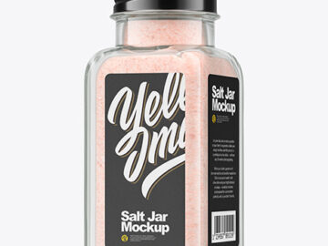 Clear Glass Jar with Pink Salt Mockup