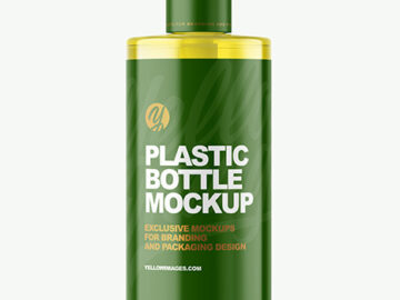 Color Plastic Bottle with Pump Mockup