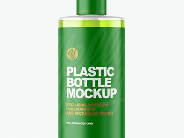 Color Liquid Plastic Bottle with Pump Mockup