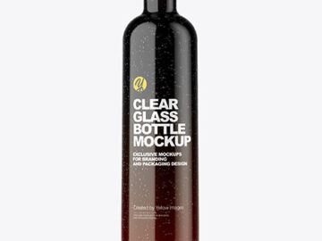 Clear Glass Bottle with Shrink Sleeve Mockup
