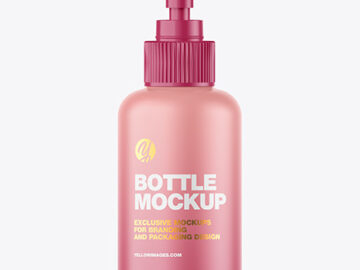 Matte Sanitizer Bottle w/ Open Pump Mockup