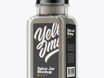 Clear Glass Jar with Black Pepper Mockup