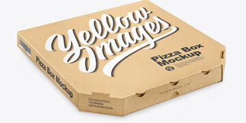 Kraft Pizza Box Mockup - Half Side View