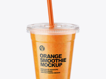 Orange Smoothie Cup with Straw Mockup