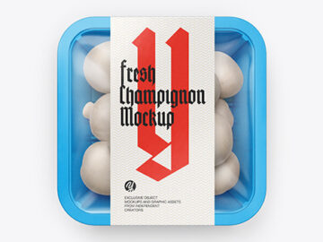 Plastic Tray With Champignon Mockup