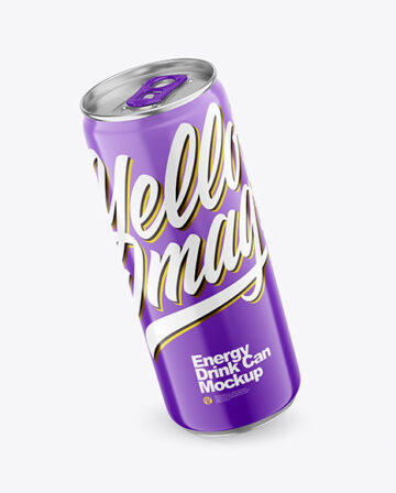 330ml Metallic Drink Can With Glossy Finish Mockup