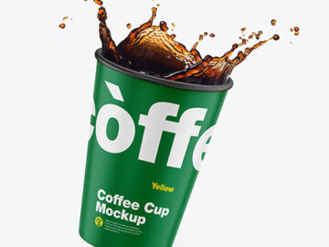 Paper Coffee Cup w/ Splash Mockup