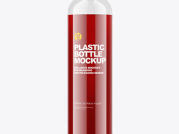 Plastic Bottle with Cherry Juice Mockup