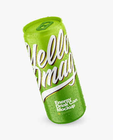 330ml Matte Drink Can With Condensation Mockup