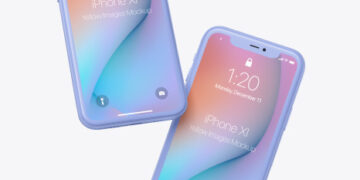 Two Clay Apple iPhones 11 Mockup