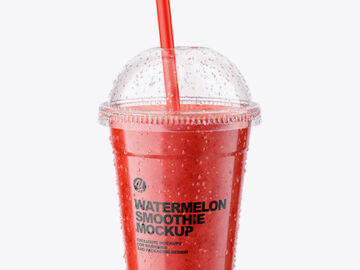 Watermelon Smoothie Cup with Straw