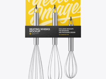 Kitchen Beating Stainless Steel Whisks Mockup - Front View
