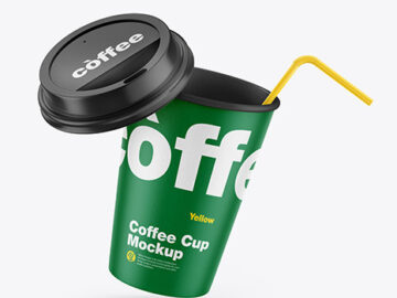 Paper Coffee Cup w/ Straw Mockup