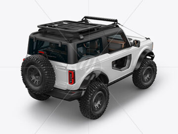 Off-Road SUV Mockup - Back Half Side View (High-Angle Shot)
