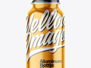 Metallic 50ml Aluminum Bottle w/ Screw Cap Mockup