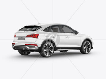 Crossover SUV Mockup – Back HalfSide View