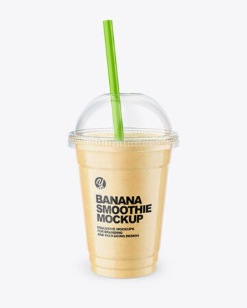 Banana Smoothie Cup with Straw Mockup