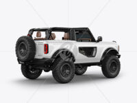 Off-Road SUV Open Roof Mockup - Back Half Side View
