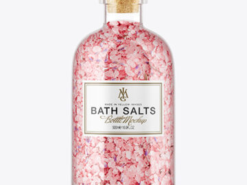 Glass Bath Salts Bottle with Cork Mockup