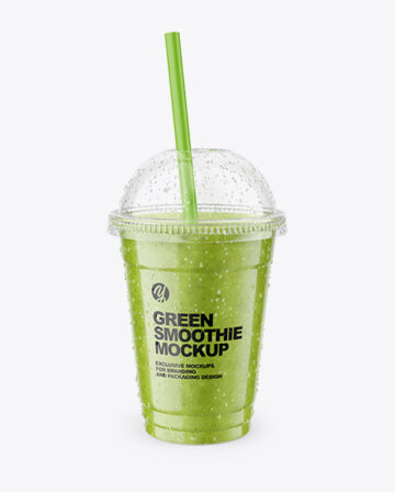 Green Smoothie Cup with Straw Mockup