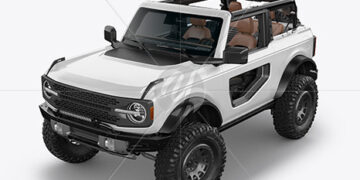 Off-Road SUV Open Roof Mockup - Half Side View (High-Angle Shot)