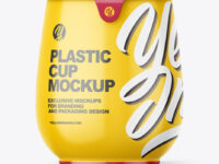 Glossy Plastic Medium Yoghurt Cup Packaging Mockup - Front View