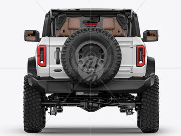 Off-Road SUV Open Roof Mockup - Back View