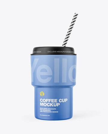 Coffee Cup w/ Straw Mockup