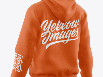Melange Hoodie Mockup - Back Half Side View