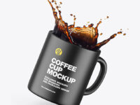 Ceramic Coffee Cup w/ Splash Mockup